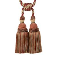 Double Tassel Tie Back in Red/Gold