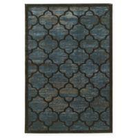 Linon Home Platinum Trellis 5' x 7'6 Area Rug in Blue/Grey