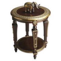 Butler Ranthore Round Brass Accent Table in Dark Brown