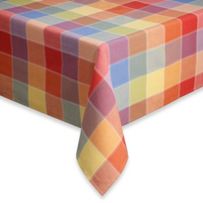 Beau Summer Check 70 Inch Round Tablecloth