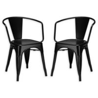 Poly and Bark Trattoria Arm Chairs in Black (Set of 2)