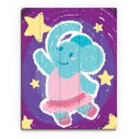 Astra Art Crayon Elephant Dancer 14-Inch x 11-Inch Wood Wall Art
