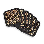 Bamboo Black Checkered Coasters (Set of 6)