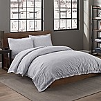 Garment Washed Twin Duvet Cover Set in Fog Popcorn