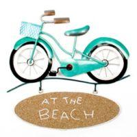 T.I. Design Bike at Beach 13-Inch Metal Wall Art with Beach Sign