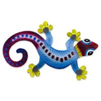T.I. Design Gecko 15-Inch x 10-Inch Metal Wall Art in Blue/Red