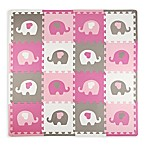 Tadpoles™ by Sleeping Partners 16-Piece Elephants & Hearts Play Mat in Pink/Grey