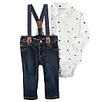 carter's® Size 24M 3-Piece Bodysuit, Jean, and Suspender Set in White