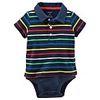 carter's® Size 12M Striped Double-Decker Polo Bodysuit in Navy
