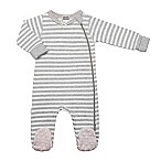 Kushies® Classics Striped Footie in Grey/Pink