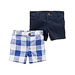 carter's® Newborn 2-Pack Checkered Shorts in Blue