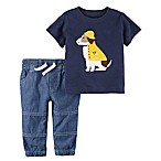 carter's® Size 9M 2-Piece Rainy Dog Shirt and Jogger Pant Set in Blue