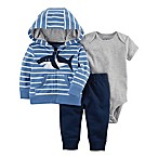 carter's® Size 3M 3-Piece Shark Little Jacket, Bodysuit, and Pant Set in Blue/Grey