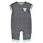 Just Born® Newborn Face Time Coverall in Grey/Aqua