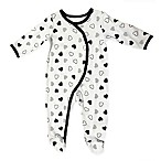 Sterling Baby Newborn Black and White Hearts Footie