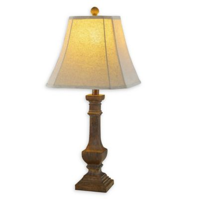 Buy bell shaped lamp shade from bed bath beyond fangio lighting cory martin slim resin pedestal table lamp in antique brown with bell shade mozeypictures Choice Image