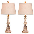 Fangio Lighting Candlestick Lamps in Cottage Antique Beige (Set of 2)