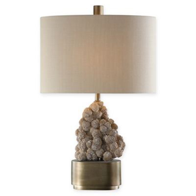 Uttermost Desert Rose Table Lamp In Bronze With Khaki Fabric Shade