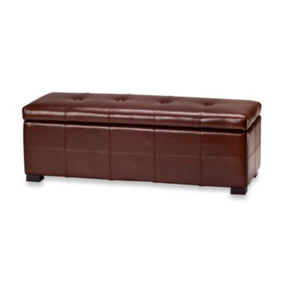 Buy Safavieh Hudson Leather Chelsea Round Tray Ottoman In