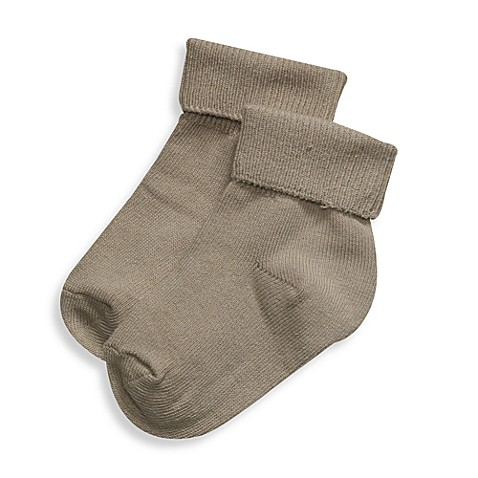 BE Basic™ 0 - 6M Turn Cuff Socks in Stone