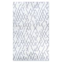 Couristan Fes Urban Shag 5'3 x 7'6 Area Rug in White/Light Grey