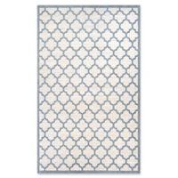 Couristan Garden Gate Quatrefoil 7'10 x 10'9 Area Rug in Oyster/Slate Blue