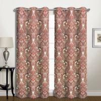 Penelope 63-Inch Grommet Room-Darkening Window Curtain Panel Pair in Red