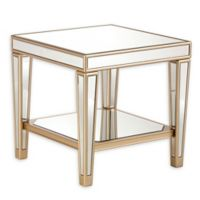 Southern Enterprises Metz Mirrored End Table in Champagne