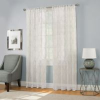 Modern Ogee Embroidery 84-Inch Rod Pocket Sheer Window Curtain Panel in Spa