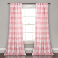 Lush Décor Kelley Checker Back Tab 84-Inch Window Curtain Panel Pair in Pink