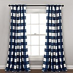 Lush Décor Kelley Checker Back Tab 84-Inch Window Curtain Panel Pair in Navy