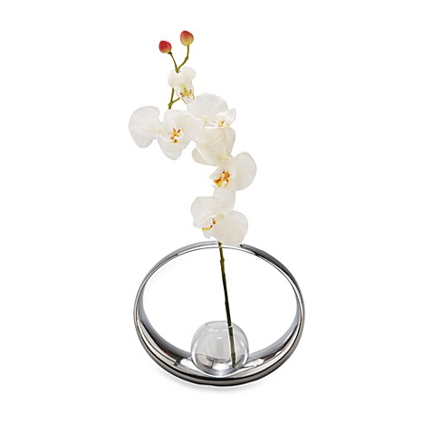 Nambe Globe Bud Vase with Large Orchid