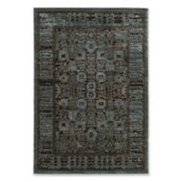 Linon Home Platinum Isphahan 5' x 7'6 Area Rug in Blue/Black