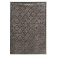 Linon Home Platinum Trellis 5' x 7'6 Area Rug in Grey