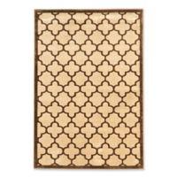 Linon Home Platinum Trellis 5' x 7'6 Area Rug in Brown/Cream