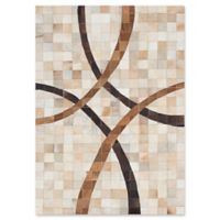 Ecarpet Gallery Cowhide Patchwork Hand-Knotted 3'11 x 5'6 Area Rug in Cream/Tan
