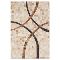 "ECARPETGALLERY Cowhide Patchwork Hand-Knotted 4'11"" x 7'4"" Area Rug in Cream/Tan"