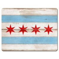 Chicago City Flag Glass Cutting Board