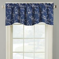 Allendale Lined Embroidered Window Valance in Navy