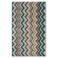 ECARPETGALLERY Zig Zag Handmade 5' x 8' Area Rug in Light Yellow/Turquoise