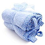 Frenchie Mini Couture Washcloth with Swirl Print Binding in Blue (4-Pack)