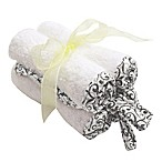 Frenchie Mini Couture Washcloth with Swirl Print Binding in White (4-Pack)