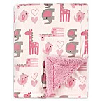 Luvable Friends® Safari Reversible Minky/Sherpa Blanket in Pink