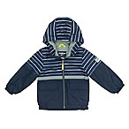 OshKosh B'gosh® Size 12M Striped Mesh Hooded Jacket in Navy