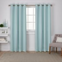Sateen 108-Inch Grommet Top Room Darkening Window Curtain Panel Pair in Sea Foam