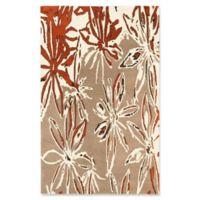 ECARPETGALLERY Abstract 5' x 8' Handcrafted Area Rug in Cream/Dark Orange