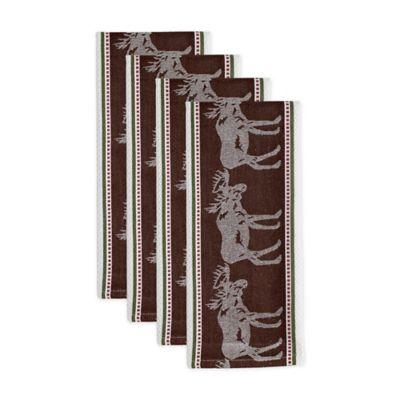 Superbe Design Imports Moose Jacquard Kitchen Towels In Brown (Set Of 4)