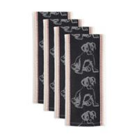 Design Imports Dog Jacquard Kitchen Towels in Black (Set of 4)