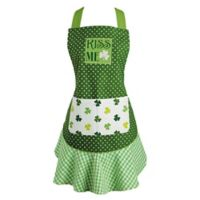 Design Imports Kiss Me Ruffle Apron in Green