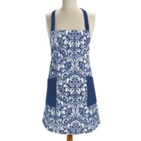 Design Imports Damask Apron in Blue